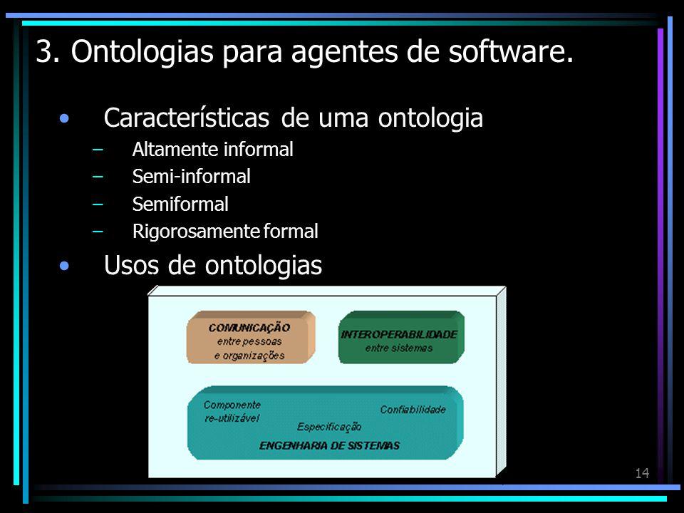14 3. Ontologias para agentes de software. Características de uma ontologia –Altamente informal –Semi-informal –Semiformal –Rigorosamente formal Usos