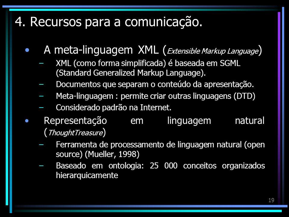 19 4. Recursos para a comunicação. A meta-linguagem XML ( Extensible Markup Language ) –XML (como forma simplificada) é baseada em SGML (Standard Gene