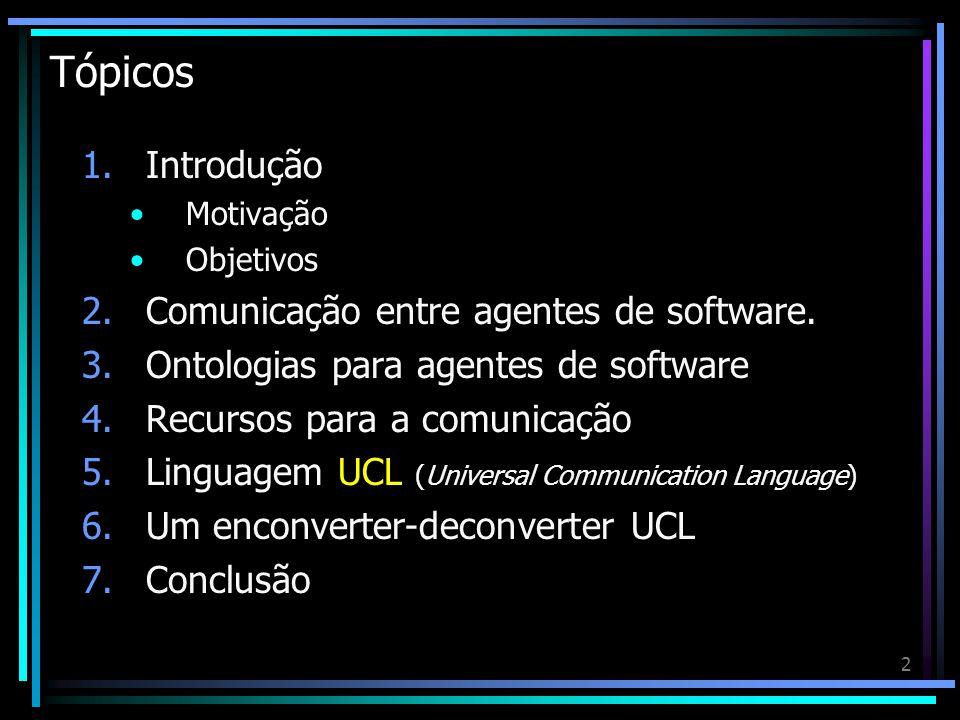 2 Tópicos 1.Introdução Motivação Objetivos 2.Comunicação entre agentes de software. 3.Ontologias para agentes de software 4.Recursos para a comunicaçã