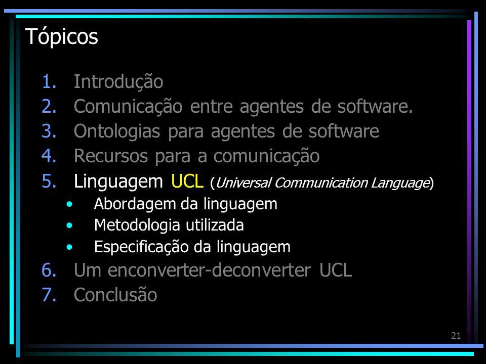 21 Tópicos 1.Introdução 2.Comunicação entre agentes de software. 3.Ontologias para agentes de software 4.Recursos para a comunicação 5.Linguagem UCL (