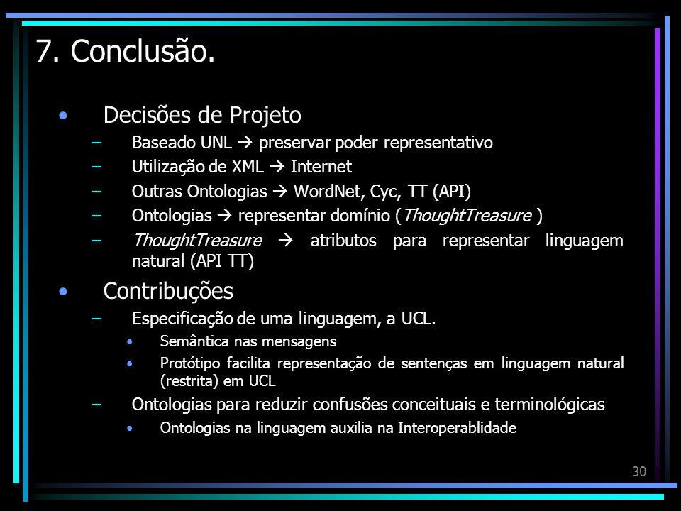30 7. Conclusão. Decisões de Projeto –Baseado UNL preservar poder representativo –Utilização de XML Internet –Outras Ontologias WordNet, Cyc, TT (API)