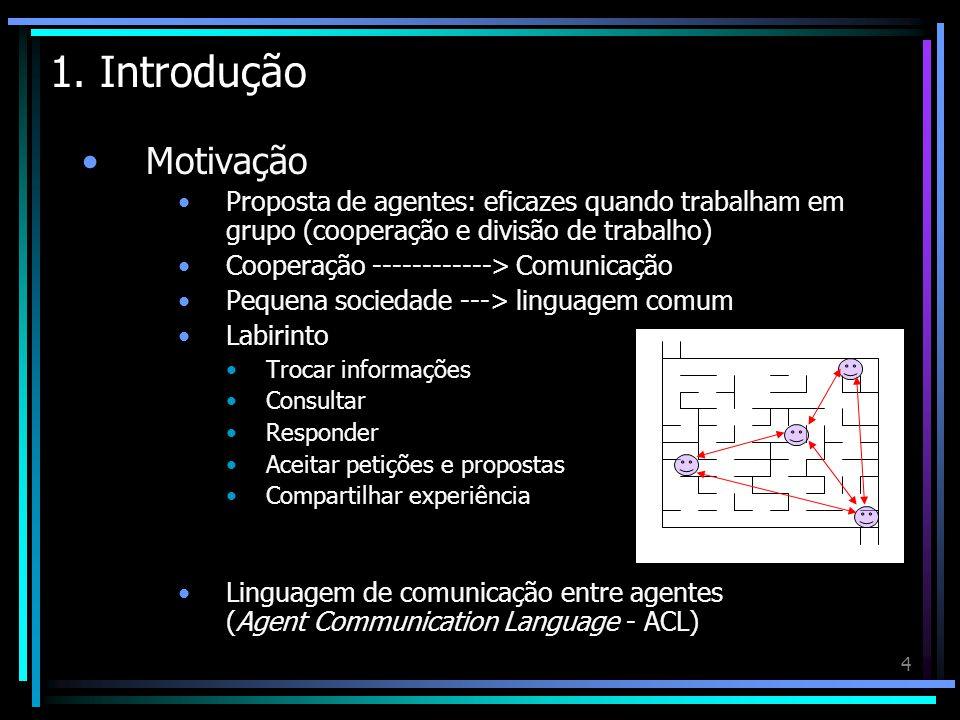 4 1. Introdução Motivação Proposta de agentes: eficazes quando trabalham em grupo (cooperação e divisão de trabalho) Cooperação ------------> Comunica