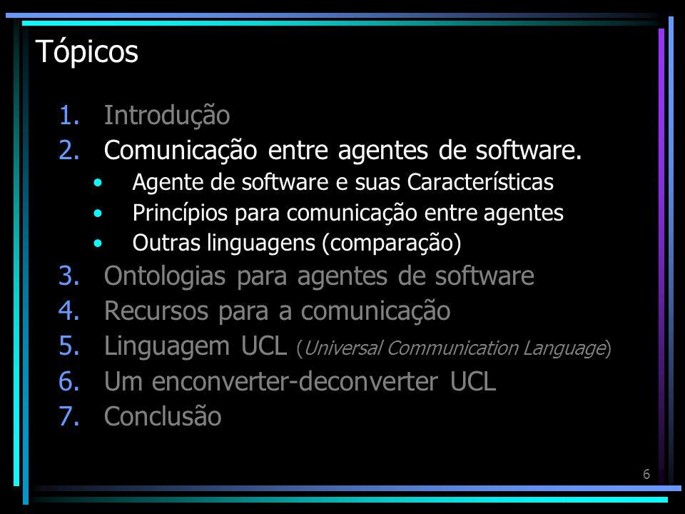 6 Tópicos 1.Introdução 2.Comunicação entre agentes de software. Agente de software e suas Características Princípios para comunicação entre agentes Ou