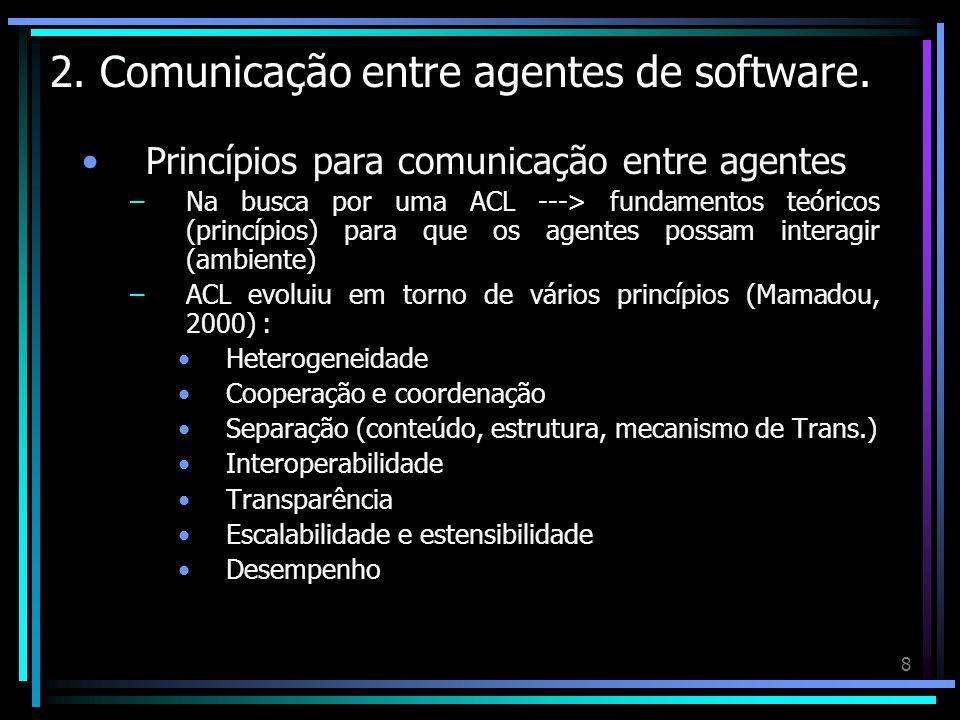 8 2. Comunicação entre agentes de software. Princípios para comunicação entre agentes –Na busca por uma ACL ---> fundamentos teóricos (princípios) par