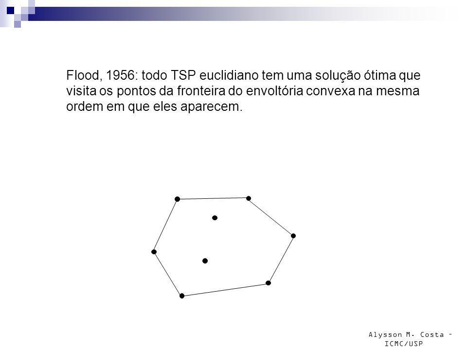 Alysson M. Costa – ICMC/USP Flood, 1956: todo TSP euclidiano tem uma solução ótima que visita os pontos da fronteira do envoltória convexa na mesma or