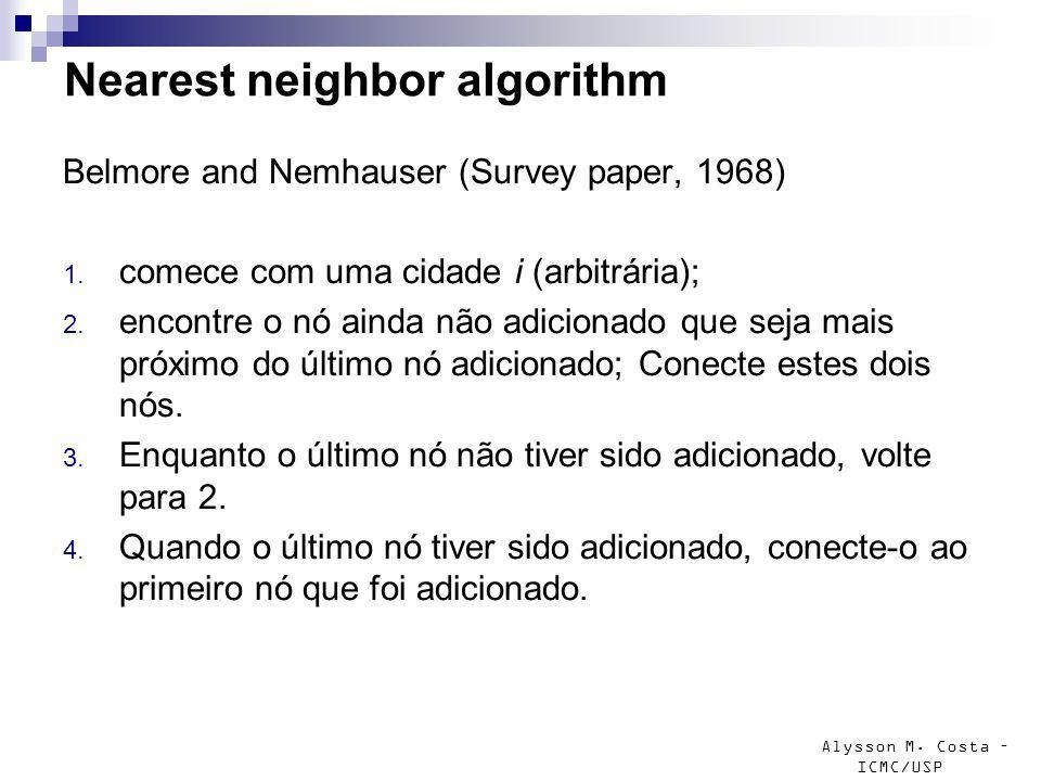 Alysson M. Costa – ICMC/USP Nearest neighbor algorithm Belmore and Nemhauser (Survey paper, 1968) 1. comece com uma cidade i (arbitrária); 2. encontre