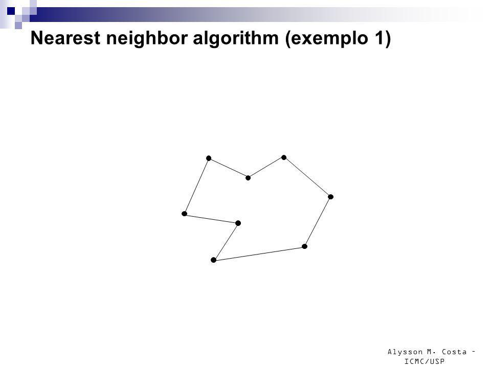 Alysson M. Costa – ICMC/USP Nearest neighbor algorithm (exemplo 1)