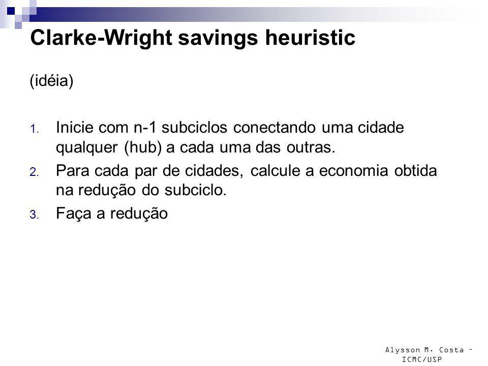 Alysson M. Costa – ICMC/USP Clarke-Wright savings heuristic (idéia) 1. Inicie com n-1 subciclos conectando uma cidade qualquer (hub) a cada uma das ou