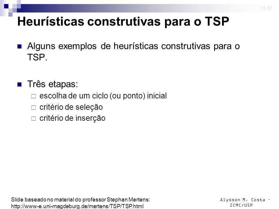 Alysson M. Costa – ICMC/USP Heurísticas construtivas para o TSP Alguns exemplos de heurísticas construtivas para o TSP. Três etapas: escolha de um cic