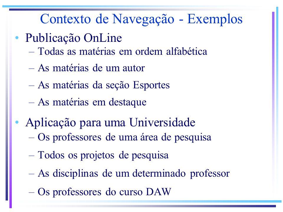 Contexto de Navegação - Exemplos Publicação OnLine –Todas as matérias em ordem alfabética –As matérias de um autor –As matérias da seção Esportes –As
