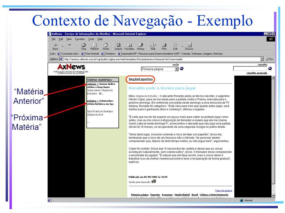 Contexto de Navegação - Exemplo Próxima Matéria Matéria Anterior