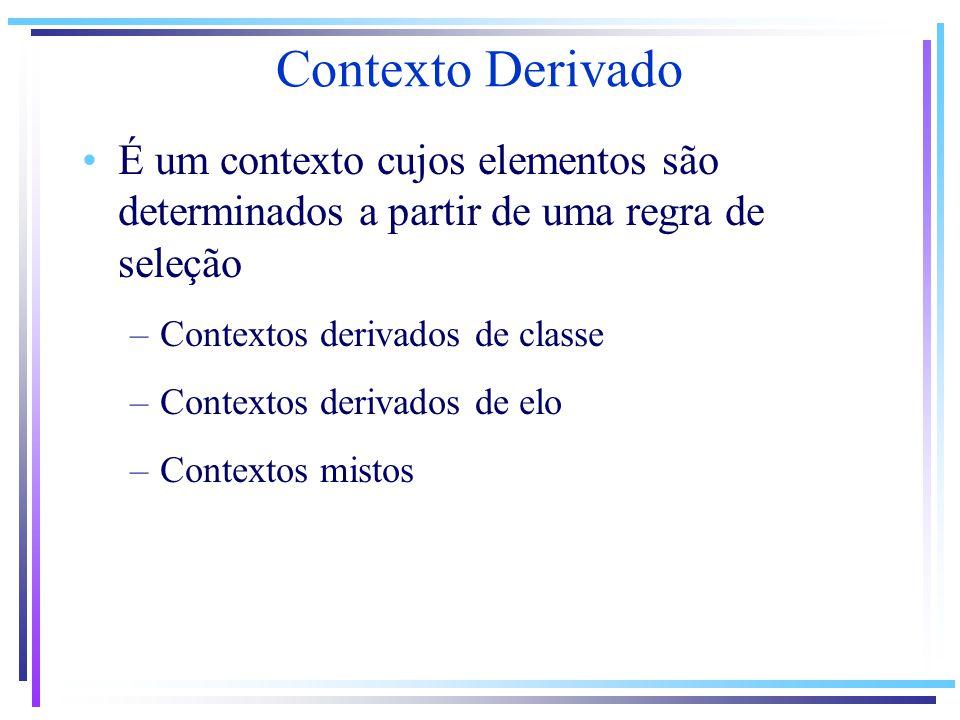 Contexto Derivado É um contexto cujos elementos são determinados a partir de uma regra de seleção –Contextos derivados de classe –Contextos derivados