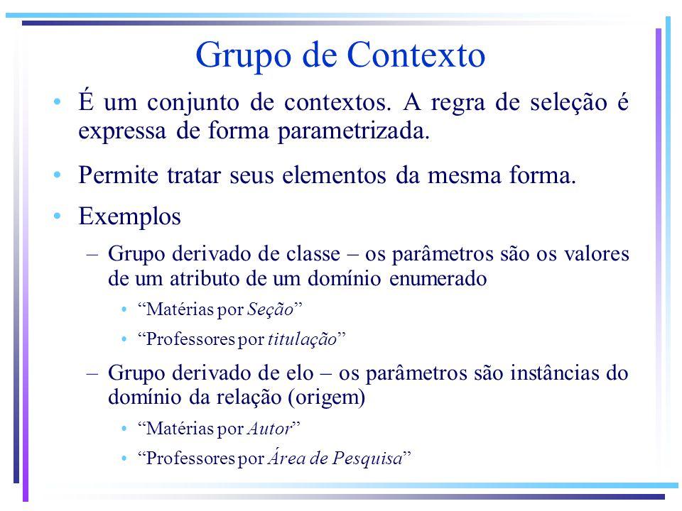 Grupo de Contexto É um conjunto de contextos. A regra de seleção é expressa de forma parametrizada. Permite tratar seus elementos da mesma forma. Exem