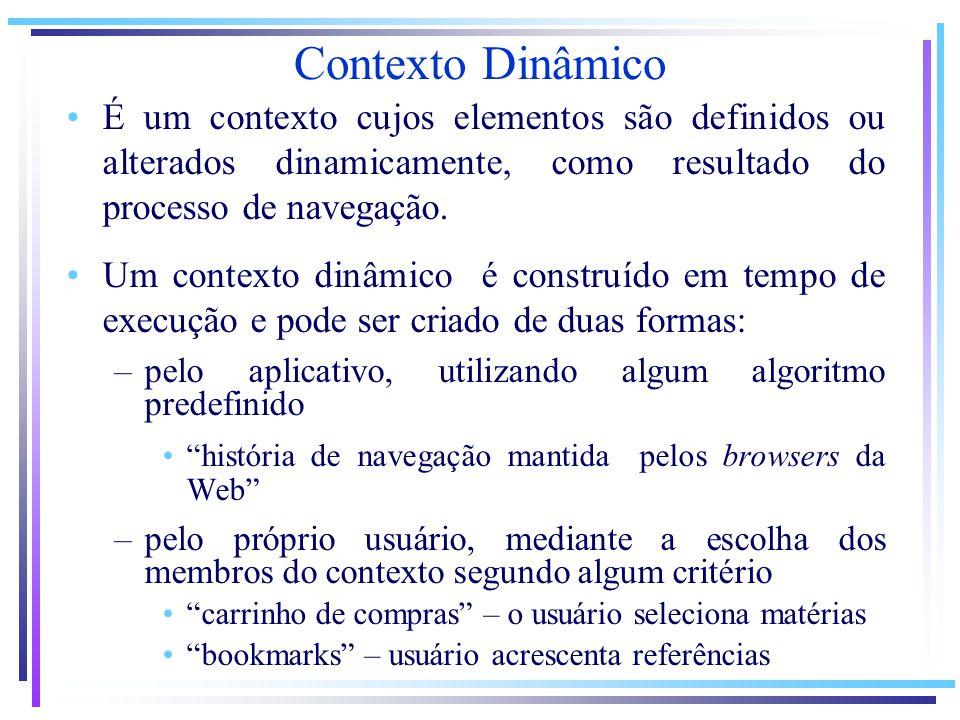 Contexto Dinâmico É um contexto cujos elementos são definidos ou alterados dinamicamente, como resultado do processo de navegação. Um contexto dinâmic