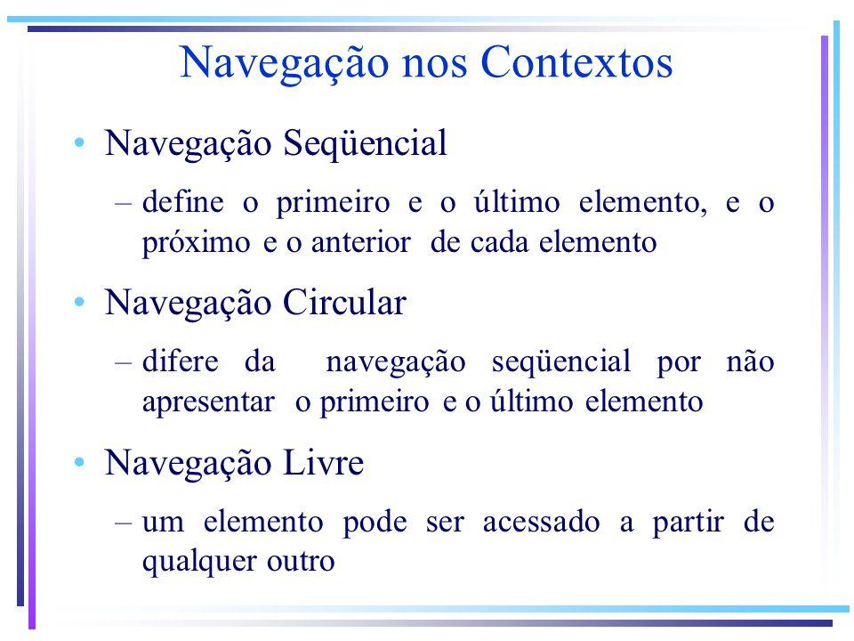 Navegação nos Contextos Navegação Seqüencial –define o primeiro e o último elemento, e o próximo e o anterior de cada elemento Navegação Circular –dif