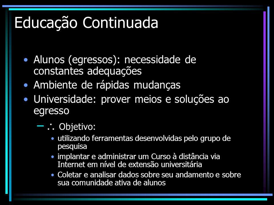 Educação Continuada Alunos (egressos): necessidade de constantes adequações Ambiente de rápidas mudanças Universidade: prover meios e soluções ao egre