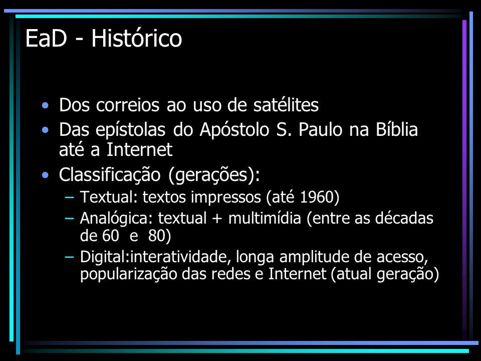 EaD - Histórico Dos correios ao uso de satélites Das epístolas do Apóstolo S. Paulo na Bíblia até a Internet Classificação (gerações): –Textual: texto