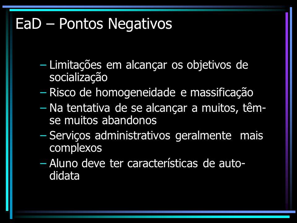 EaD – Pontos Negativos –Limitações em alcançar os objetivos de socialização –Risco de homogeneidade e massificação –Na tentativa de se alcançar a muit
