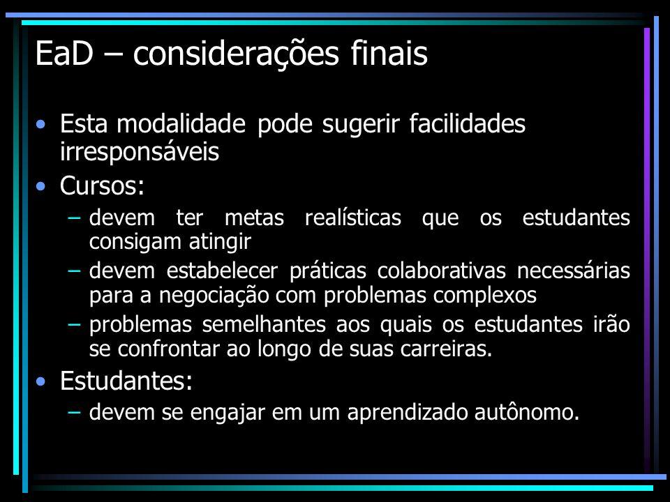 EaD – considerações finais Esta modalidade pode sugerir facilidades irresponsáveis Cursos: –devem ter metas realísticas que os estudantes consigam ati