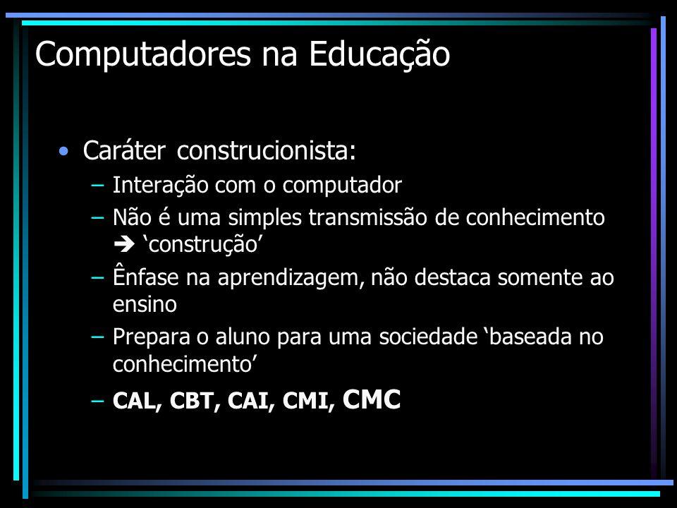 Computadores na Educação Caráter construcionista: –Interação com o computador –Não é uma simples transmissão de conhecimento construção –Ênfase na apr