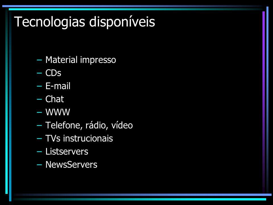 Tecnologias disponíveis –Material impresso –CDs –E-mail –Chat –WWW –Telefone, rádio, vídeo –TVs instrucionais –Listservers –NewsServers