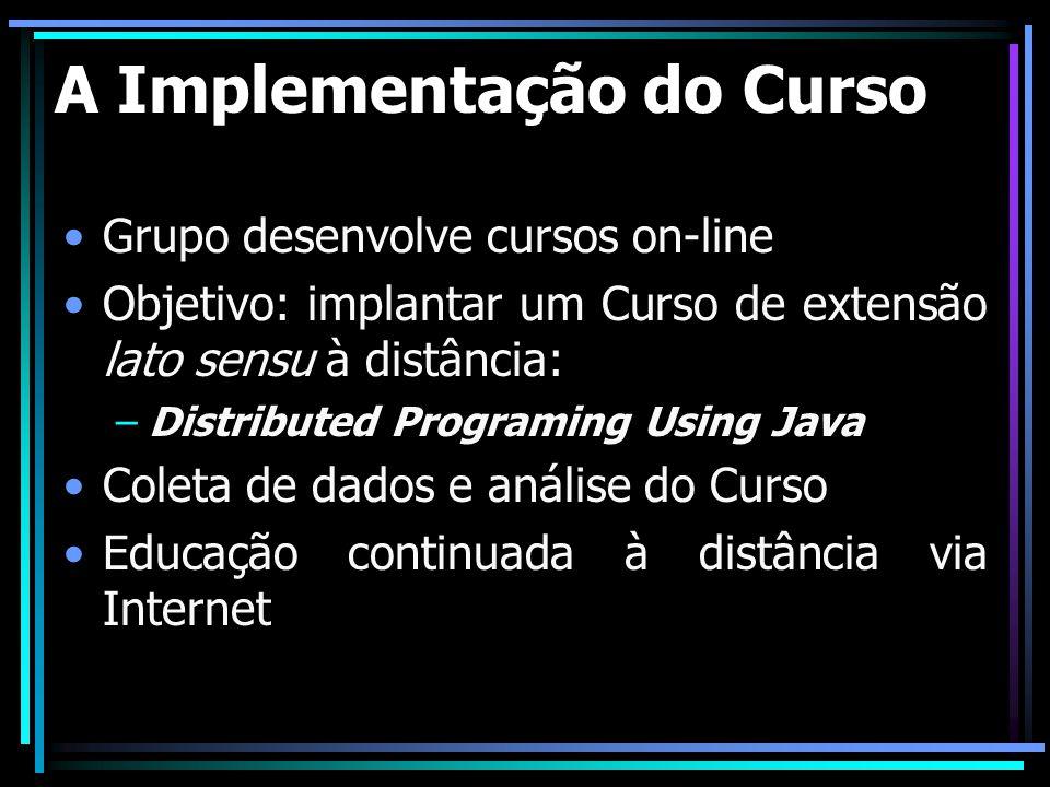 A Implementação do Curso Grupo desenvolve cursos on-line Objetivo: implantar um Curso de extensão lato sensu à distância: –Distributed Programing Usin