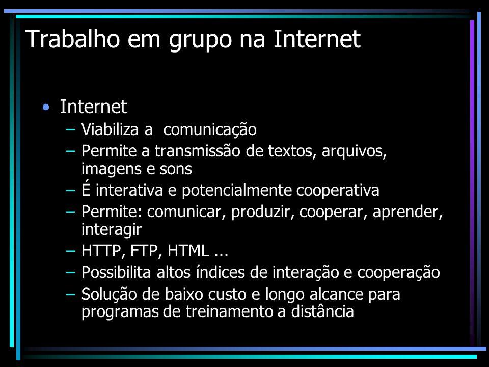 Trabalho em grupo na Internet Internet –Viabiliza a comunicação –Permite a transmissão de textos, arquivos, imagens e sons –É interativa e potencialme
