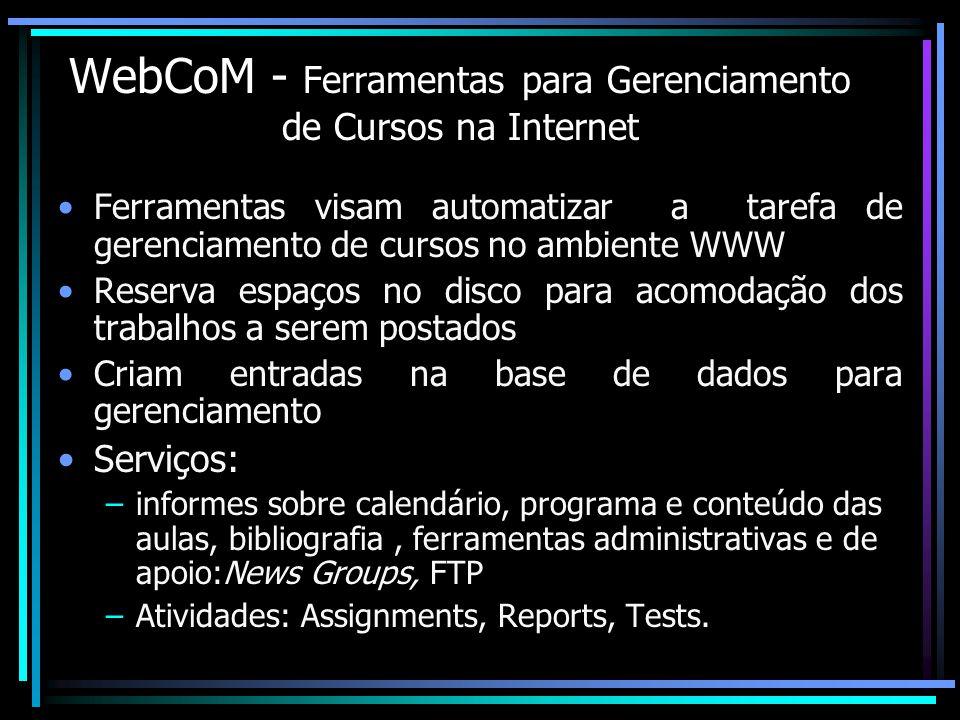 WebCoM - Ferramentas para Gerenciamento de Cursos na Internet Ferramentas visam automatizar a tarefa de gerenciamento de cursos no ambiente WWW Reserv