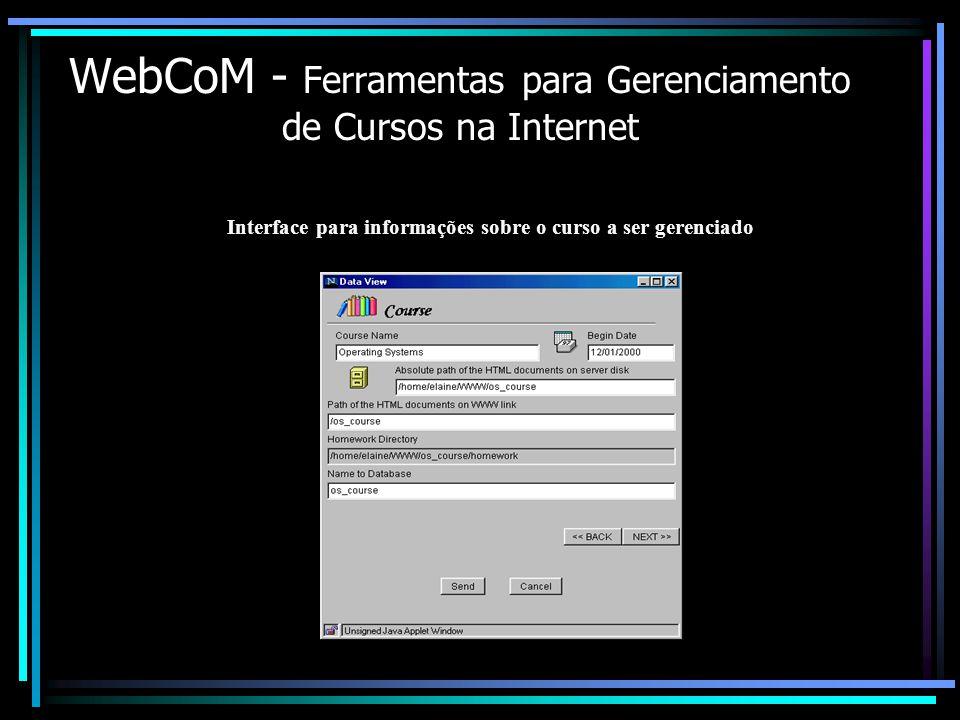 WebCoM - Ferramentas para Gerenciamento de Cursos na Internet Interface para informações sobre o curso a ser gerenciado