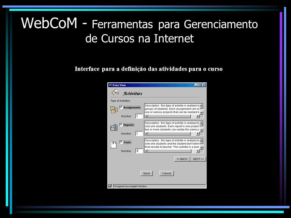 WebCoM - Ferramentas para Gerenciamento de Cursos na Internet Interface para a definição das atividades para o curso