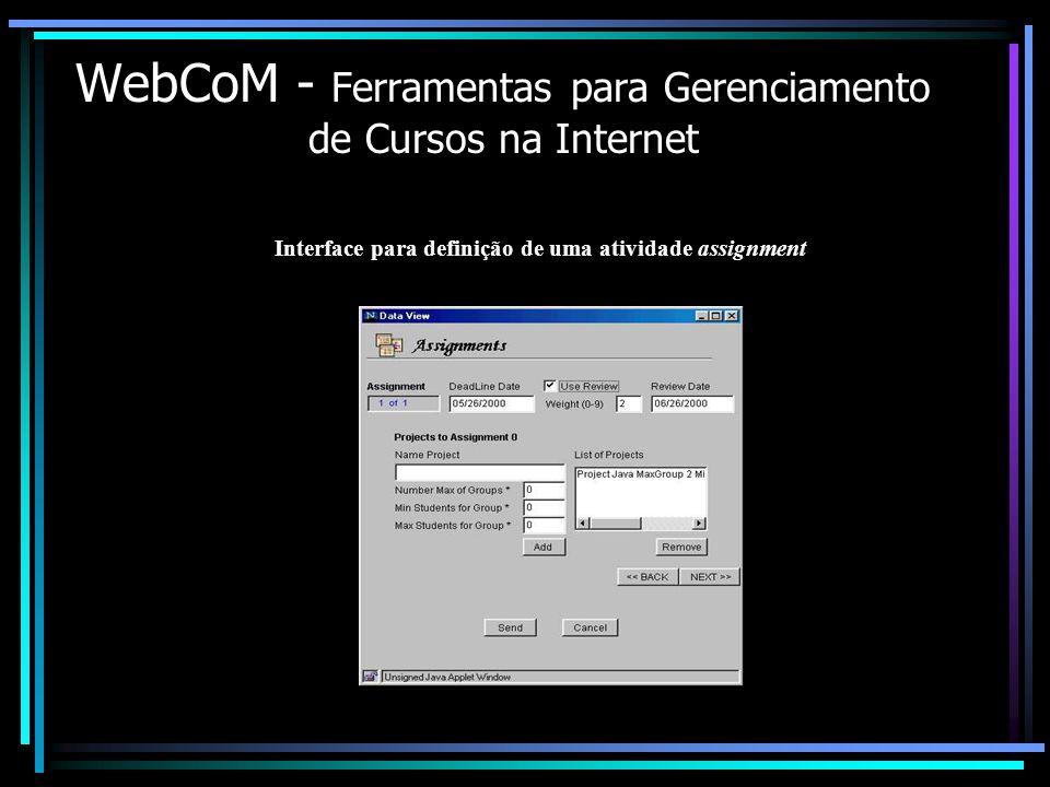 WebCoM - Ferramentas para Gerenciamento de Cursos na Internet Interface para definição de uma atividade assignment