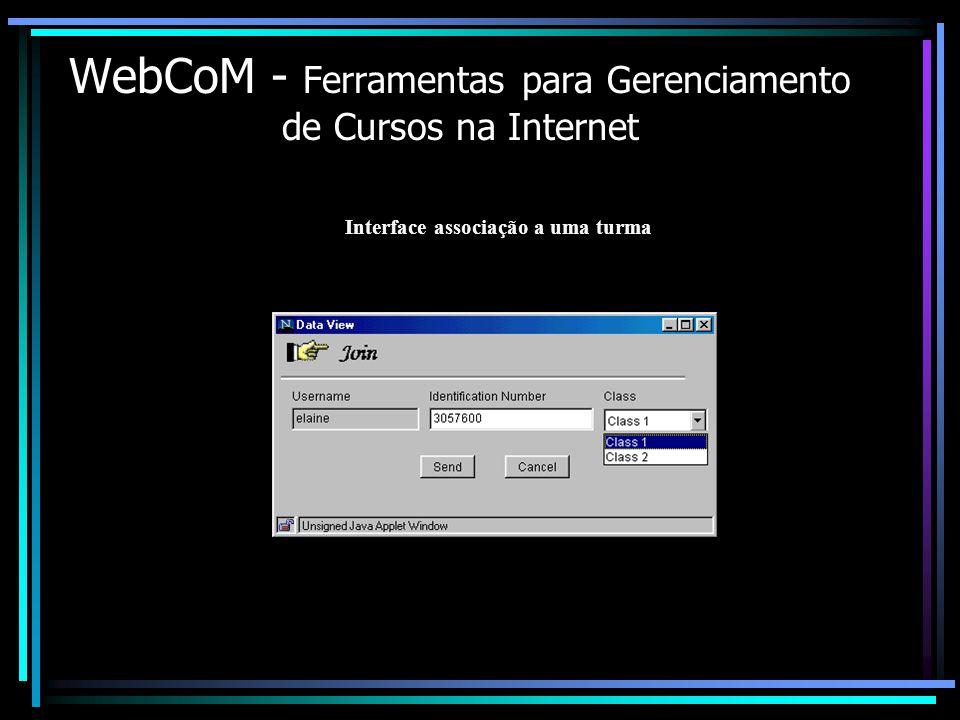 WebCoM - Ferramentas para Gerenciamento de Cursos na Internet Interface associação a uma turma