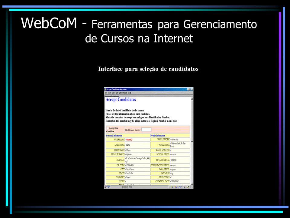 WebCoM - Ferramentas para Gerenciamento de Cursos na Internet Interface para seleção de candidatos