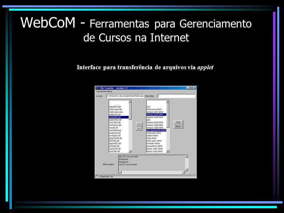 WebCoM - Ferramentas para Gerenciamento de Cursos na Internet Interface para transferência de arquivos via applet