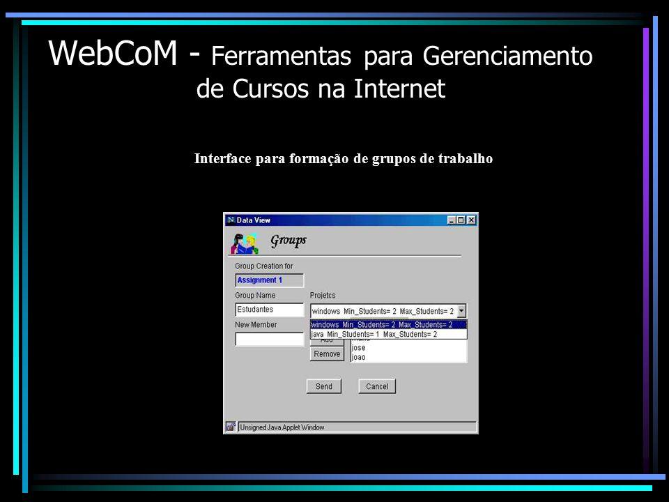 WebCoM - Ferramentas para Gerenciamento de Cursos na Internet Interface para formação de grupos de trabalho