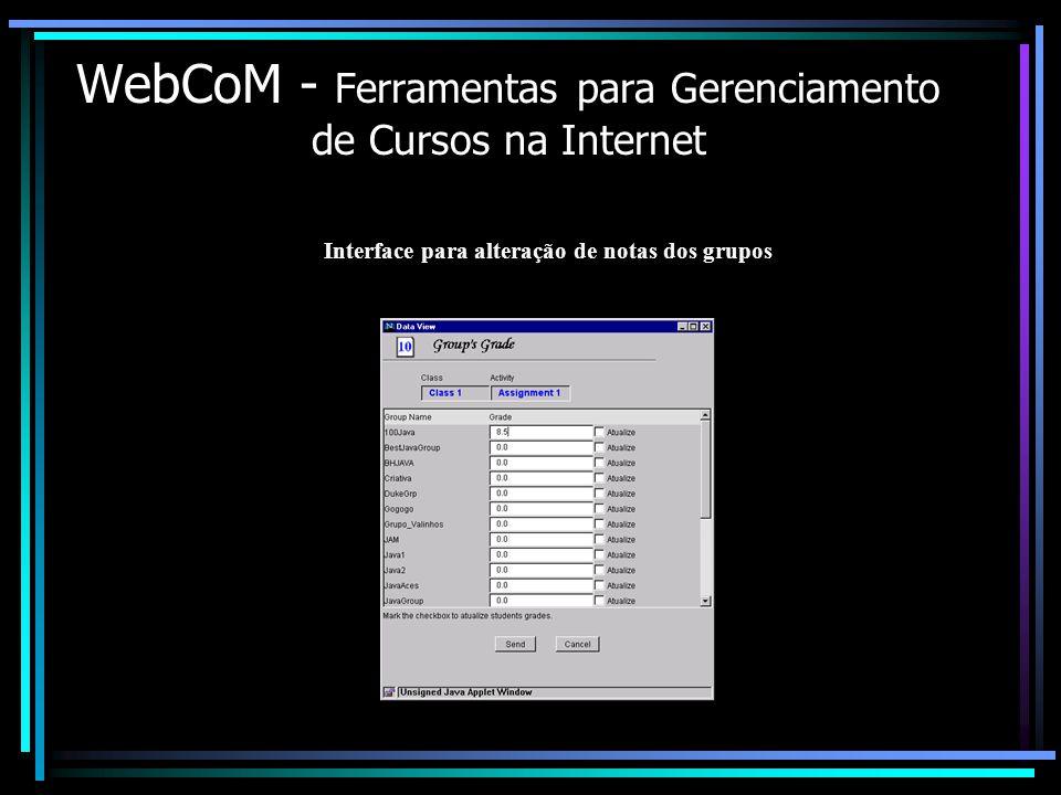 WebCoM - Ferramentas para Gerenciamento de Cursos na Internet Interface para alteração de notas dos grupos