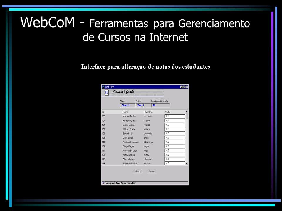 WebCoM - Ferramentas para Gerenciamento de Cursos na Internet Interface para alteração de notas dos estudantes