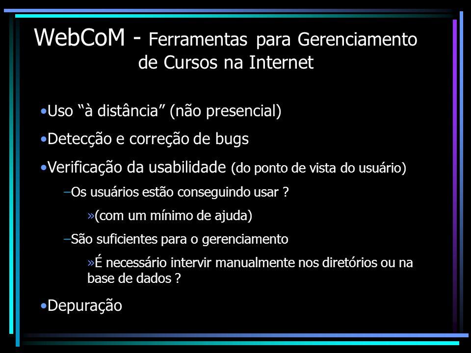 WebCoM - Ferramentas para Gerenciamento de Cursos na Internet Uso à distância (não presencial) Detecção e correção de bugs Verificação da usabilidade