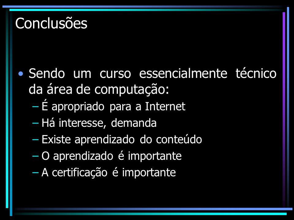 Conclusões Sendo um curso essencialmente técnico da área de computação: –É apropriado para a Internet –Há interesse, demanda –Existe aprendizado do co