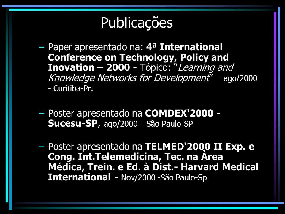 Publicações –Paper apresentado na: 4ª International Conference on Technology, Policy and Inovation – 2000 - Tópico: Learning and Knowledge Networks fo