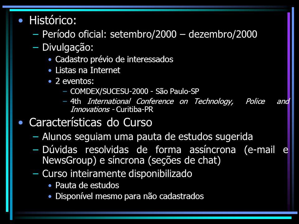 Histórico: –Período oficial: setembro/2000 – dezembro/2000 –Divulgação: Cadastro prévio de interessados Listas na Internet 2 eventos: –COMDEX/SUCESU-2