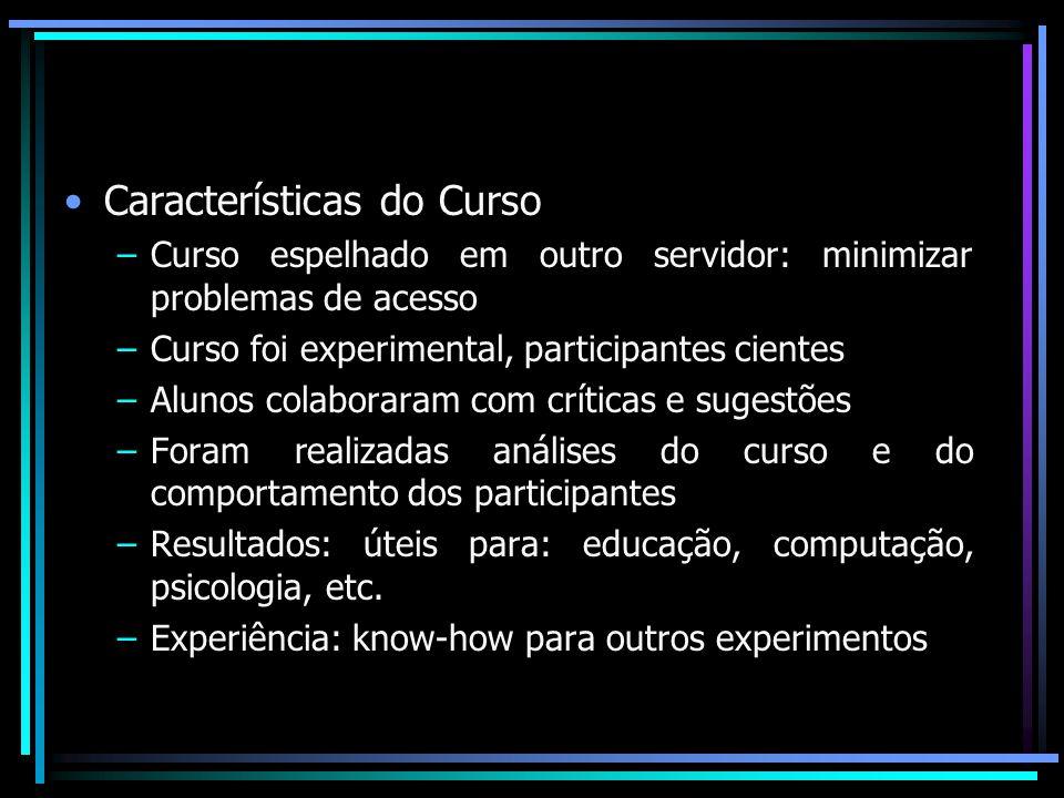 Características do Curso –Curso espelhado em outro servidor: minimizar problemas de acesso –Curso foi experimental, participantes cientes –Alunos cola