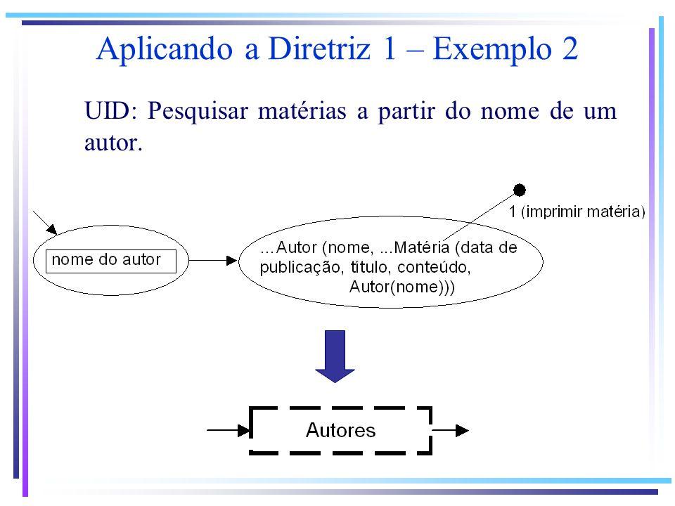 UID: Pesquisar matérias a partir do nome de um autor. Aplicando a Diretriz 1 – Exemplo 2