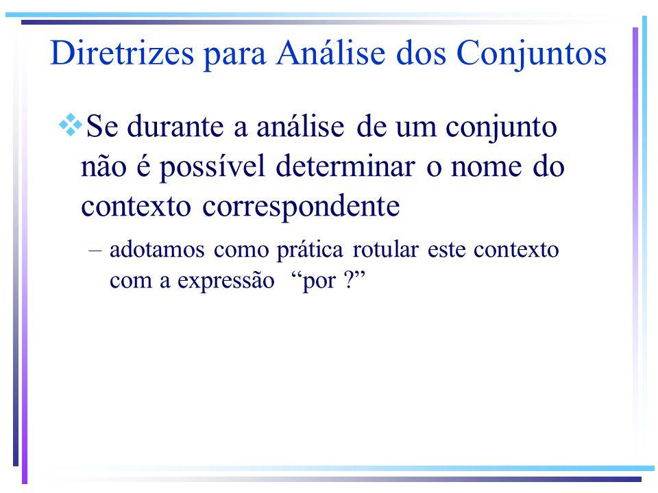 Se durante a análise de um conjunto não é possível determinar o nome do contexto correspondente –adotamos como prática rotular este contexto com a expressão por .