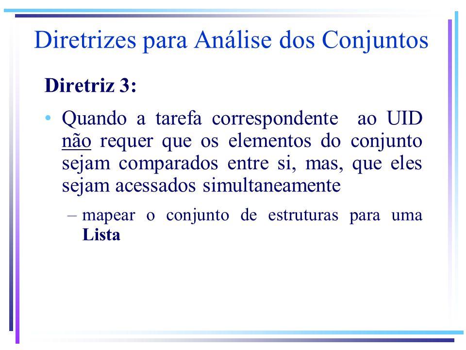 Diretrizes para Análise dos Conjuntos Diretriz 3: Quando a tarefa correspondente ao UID não requer que os elementos do conjunto sejam comparados entre si, mas, que eles sejam acessados simultaneamente –mapear o conjunto de estruturas para uma Lista
