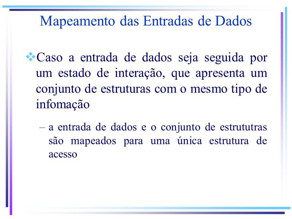 Caso a entrada de dados seja seguida por um estado de interação, que apresenta um conjunto de estruturas com o mesmo tipo de infomação –a entrada de dados e o conjunto de estrututras são mapeados para uma única estrutura de acesso Mapeamento das Entradas de Dados