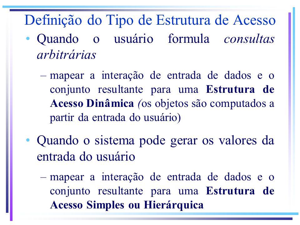 Definição do Tipo de Estrutura de Acesso Quando o usuário formula consultas arbitrárias –mapear a interação de entrada de dados e o conjunto resultante para uma Estrutura de Acesso Dinâmica (os objetos são computados a partir da entrada do usuário) Quando o sistema pode gerar os valores da entrada do usuário –mapear a interação de entrada de dados e o conjunto resultante para uma Estrutura de Acesso Simples ou Hierárquica