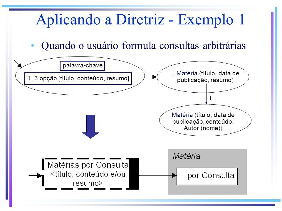 ...Matéria (título, data de publicação, resumo ) palavra-chave 1..3 opção [título, conteúdo, resumo] 1 Matéria (título, data de publicação, conteúdo, Autor (nome) ) Aplicando a Diretriz - Exemplo 1 Quando o usuário formula consultas arbitrárias