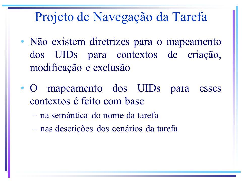 Projeto de Navegação da Tarefa Não existem diretrizes para o mapeamento dos UIDs para contextos de criação, modificação e exclusão O mapeamento dos UIDs para esses contextos é feito com base –na semântica do nome da tarefa –nas descrições dos cenários da tarefa