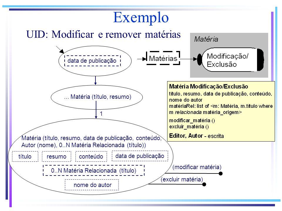 Exemplo UID: Modificar e remover matérias...
